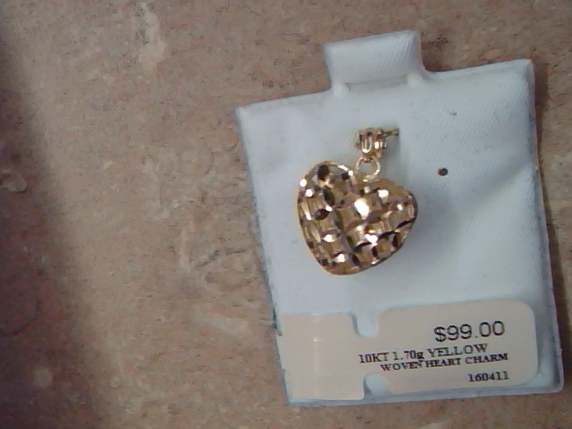 ESTATE HEART PENDANT CHARM SOLID 10K GOLD LOVE FILIGREE WEAVE PUFF