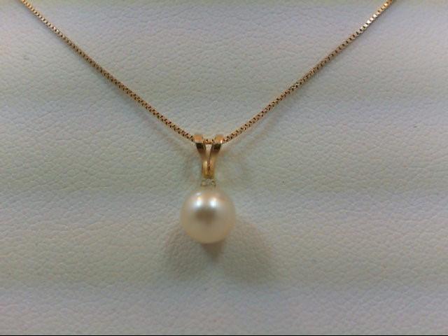 Pearl Gold-Diamond & Stone Pendant 0.01 CT. 14K Yellow Gold 1.4g