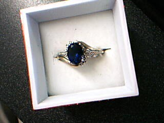 Blue Stone Lady's Stone Ring 10K White Gold 3.1g