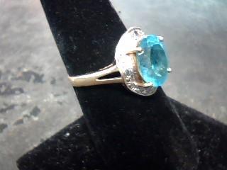 Synthetic Aquamarine Lady's Stone Ring 10K White Gold 2.2dwt