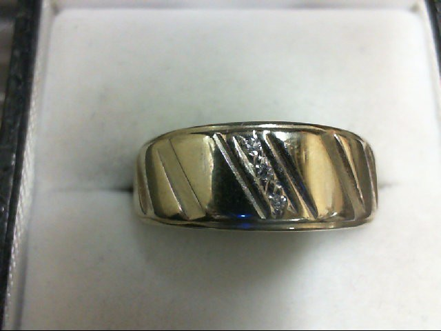 Gent's Gold-Diamond Wedding Band 3 Diamonds 0.03 Carat T.W. 14K White Gold 4.9g