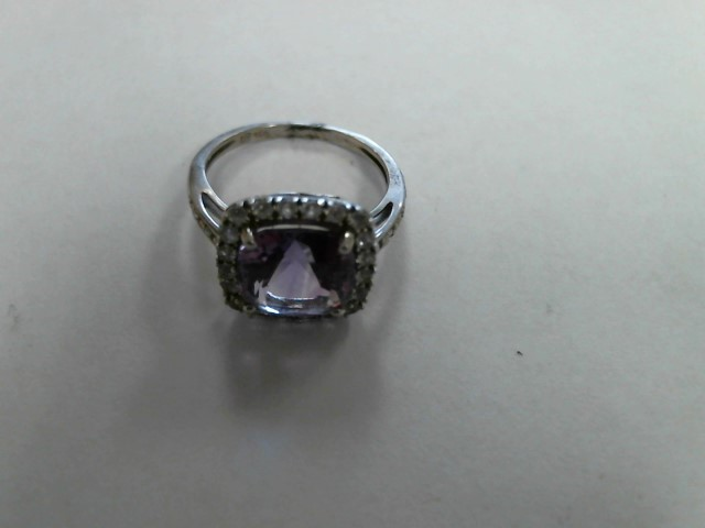Purple Stone Lady's Stone Ring 10K White Gold 1.7dwt