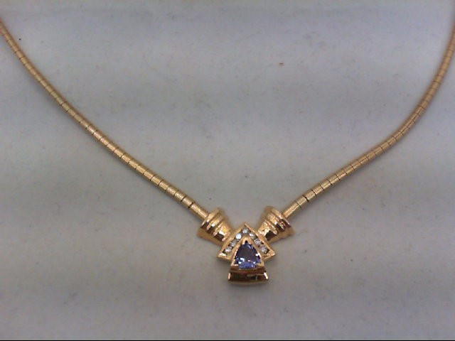 Tanzanite Gold-Diamond & Stone Pendant 7 Diamonds .14 Carat T.W.