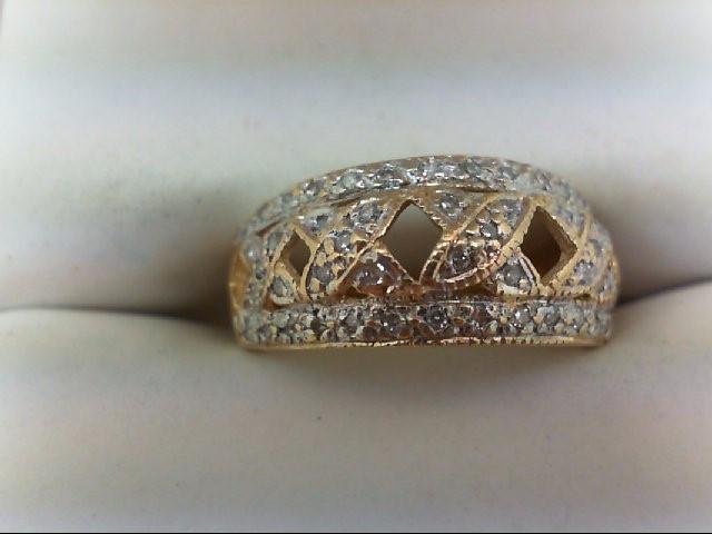 Lady's Diamond Wedding Band 55 Diamonds 0.55 Carat T.W. 14K Yellow Gold 3.1g