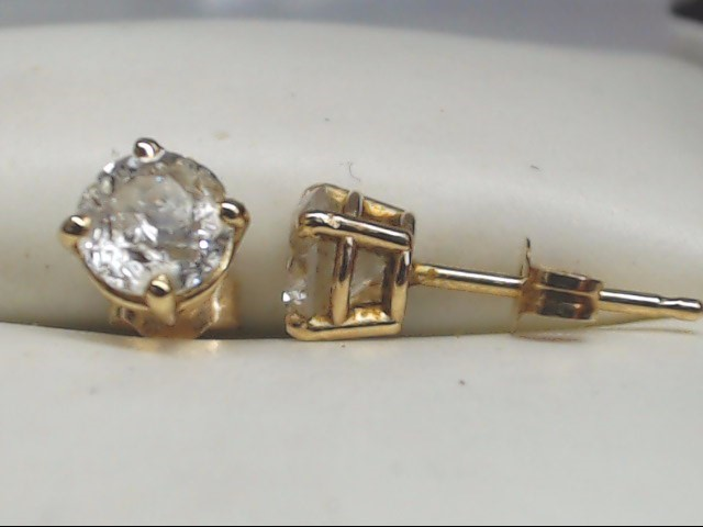 Gold-Diamond Earrings 2 Diamonds .70 Carat T.W. 14K Yellow Gold 0.8g