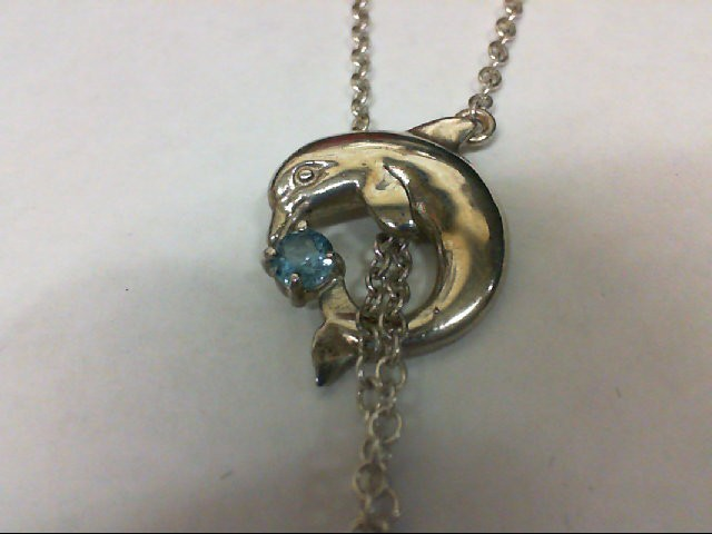 Blue Topaz Silver-Stone Pendant 925 Silver 6.4g
