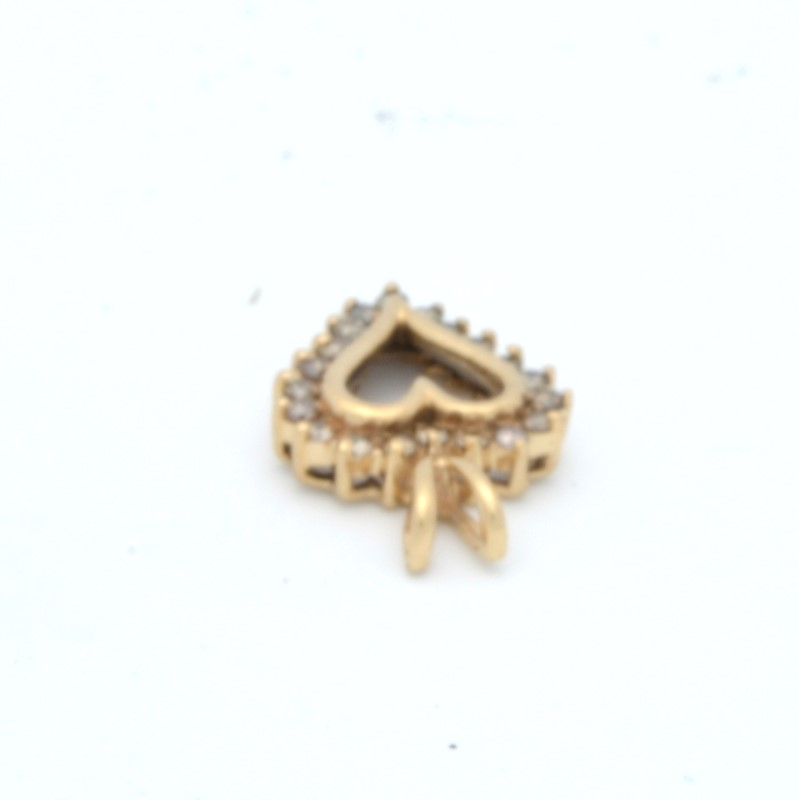 ESTATE DIAMOND HEART PENDANT CHARM SOLID 10K YELLOW GOLD LOVE SMALL