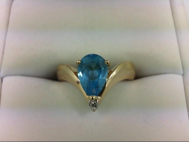 Blue Topaz Lady's Stone & Diamond Ring 0.02 CT. 14K Yellow Gold 3.2g