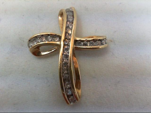 Gold-Multi-Diamond Pendant 25 Diamonds .25 Carat T.W. 10K Yellow Gold 1.6g