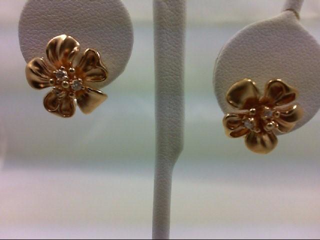 Gold-Diamond Earrings 6 Diamonds 0.24 Carat T.W. 14K Yellow Gold 6.2g