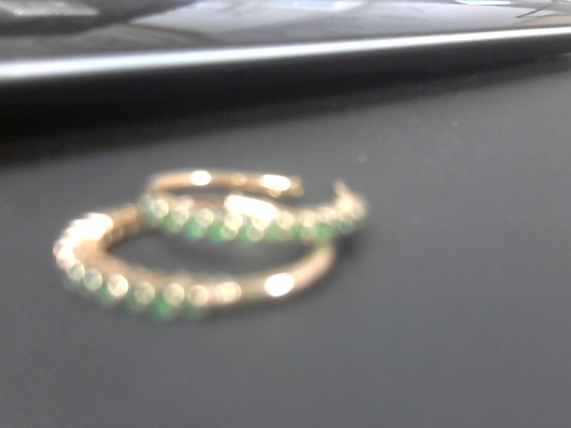 Emerald Gold-Stone Earrings 14K Yellow Gold 4.1g