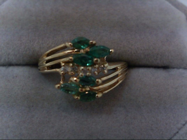 Emerald Lady's Stone & Diamond Ring 5 Diamonds .05 Carat T.W. 10K Yellow Gold