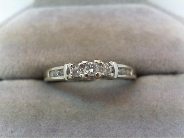 Lady's Gold-Diamond Anniversary Ring 9 Diamonds .26 Carat T.W. 10K White Gold