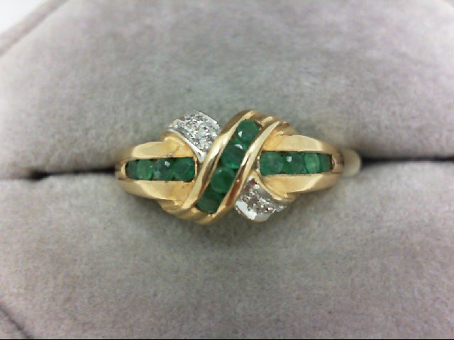 Emerald Lady's Stone & Diamond Ring 2 Diamonds 0.02 Carat T.W. 10K Yellow Gold 2