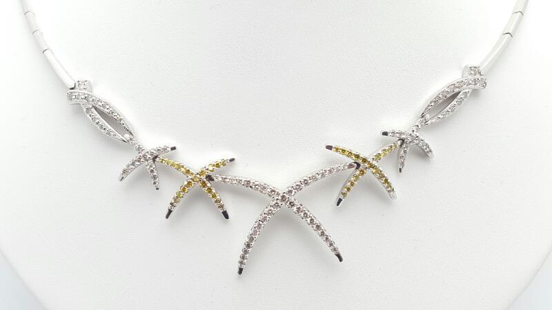 Diamond Necklace 102 Diamonds 2.04 Carat T.W. 14K White Gold 20.3g