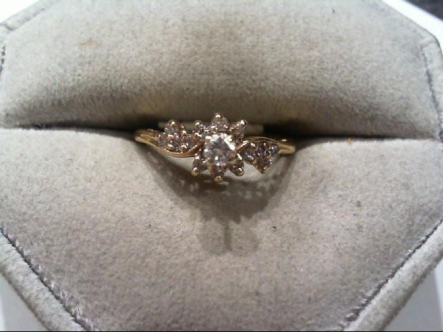 Lady's Diamond Cluster Ring 15 Diamonds .24 Carat T.W. 14K Yellow Gold 2.2g