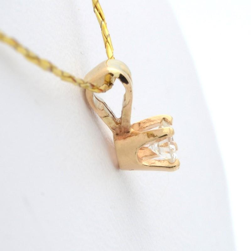 ESTATE BRILLIANT DIAMOND SOLITAIRE PENDANT CHARM SOLID 14K GOLD FINE