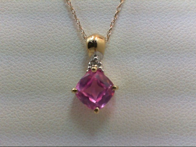 Pink Sapphire Gold-Diamond & Stone Pendant .01 CT. 10K Yellow Gold 1.2g