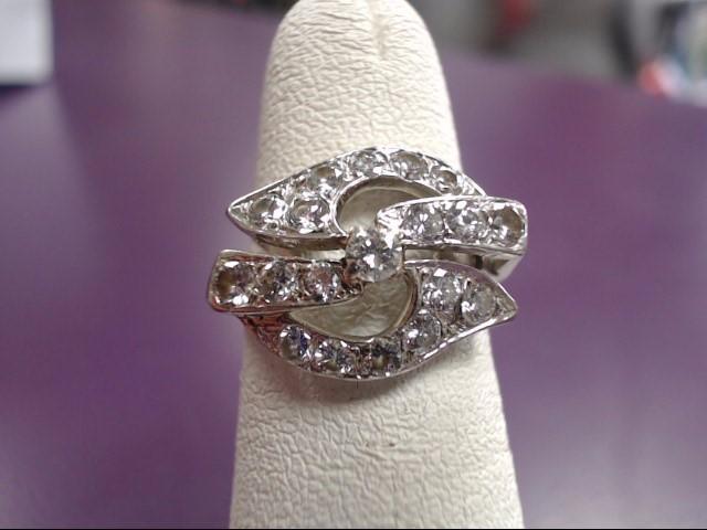 Lady's Diamond Cluster Ring 19 Diamonds .95 Carat T.W. 14K White Gold 3.97g
