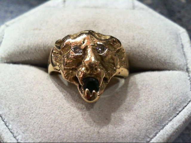 Emerald Lady's Stone & Diamond Ring 2 Diamonds .10 Carat T.W. 14K Yellow Gold
