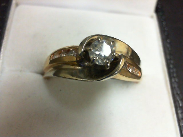 Lady's Diamond Engagement Ring 7 Diamonds 0.37 Carat T.W. 14K 2 Tone Gold 6.3g