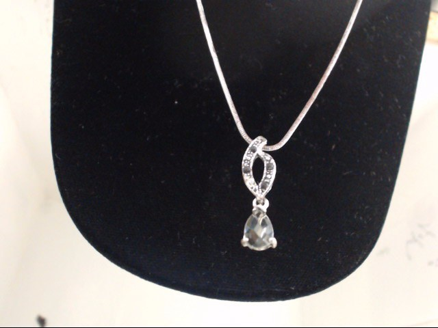 Synthetic Gray Stone Silver-Stone Pendant 925 Silver 5.3g