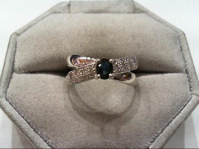 Sapphire Lady's Stone & Diamond Ring 16 Diamonds .16 Carat T.W. 10K White Gold
