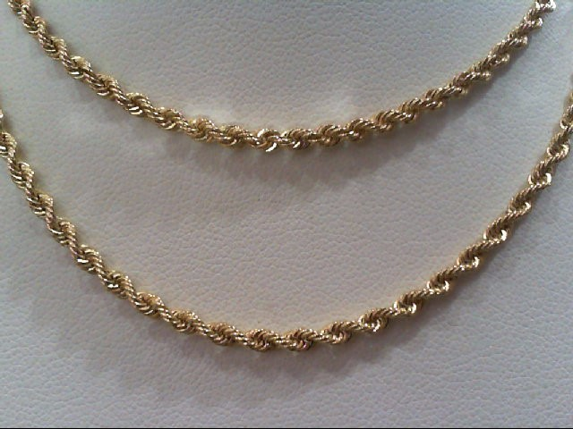 """20"""" Gold Rope Chain 14K Yellow Gold 8.9g"""