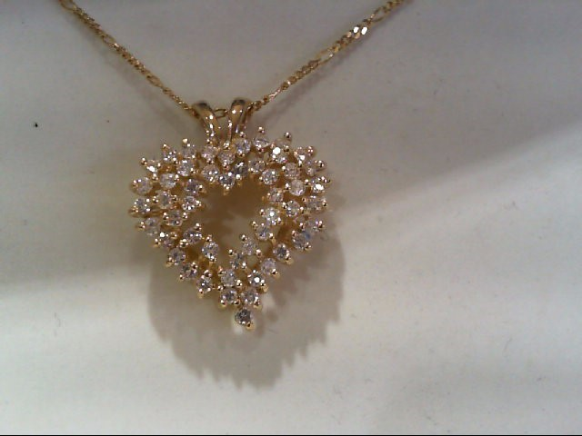 Gold-Multi-Diamond Pendant 50 Diamonds 1.00 Carat T.W. 14K Yellow Gold 4.31g