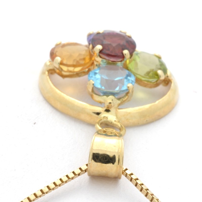 ESTATE MULTI GEM FLOWER CROSS PENDANT CHARM SOLID REAL 14K GOLD