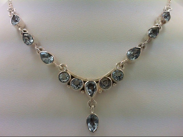 Blue Topaz Stone Necklace 925 Silver 10.3g