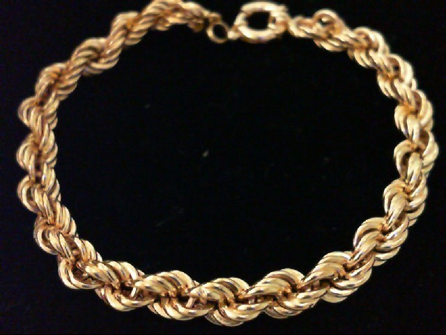 Gold Rope Bracelet 14K Yellow Gold 6.8g