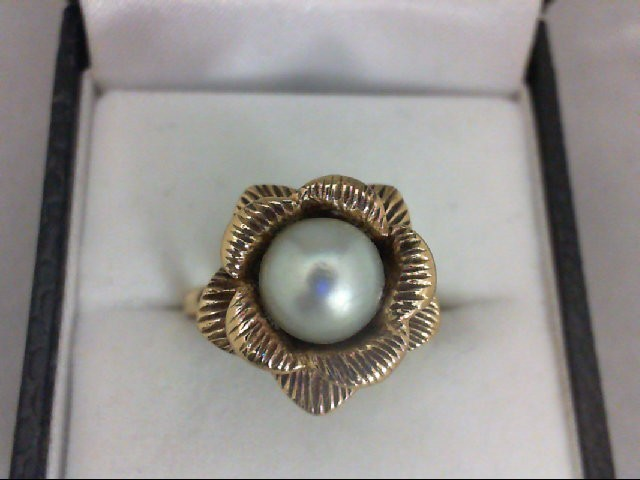 Pearl Lady's Stone Ring 14K Yellow Gold 5.5g