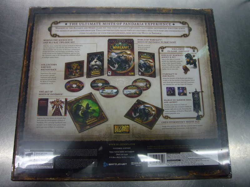 BLIZZARD PC Game WORLD OF WARCRAFT MISTS OF PANDARIA COLLECTORS EDITION *SEALED*