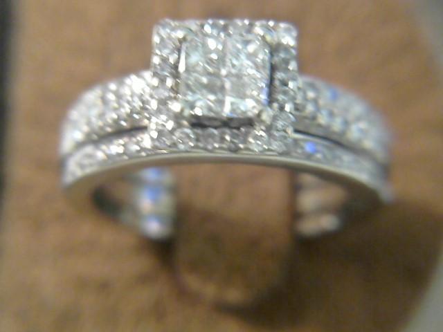 Lady's Diamond Wedding Set 77 Diamonds .93 Carat T.W. 14K White Gold 4.5dwt