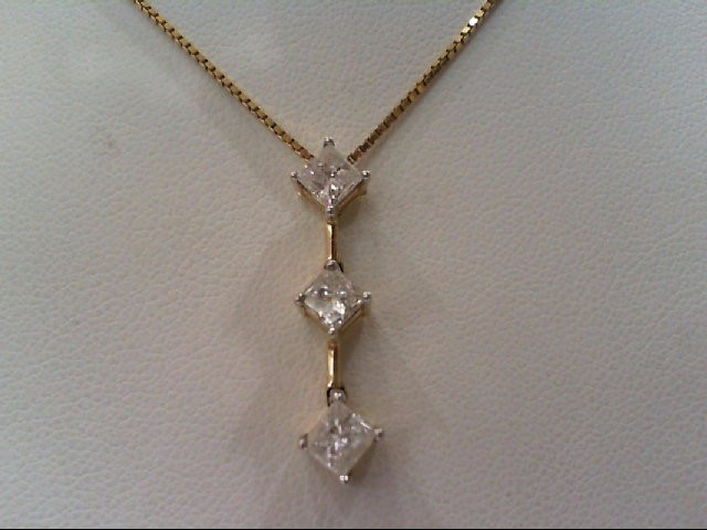 Gold-Multi-Diamond Pendant 3 Diamonds .85 Carat T.W. 14K Yellow Gold 3.3g