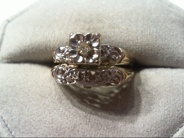 Lady's Diamond Wedding Set 12 Diamonds .16 Carat T.W. 14K 2 Tone Gold 4.2g
