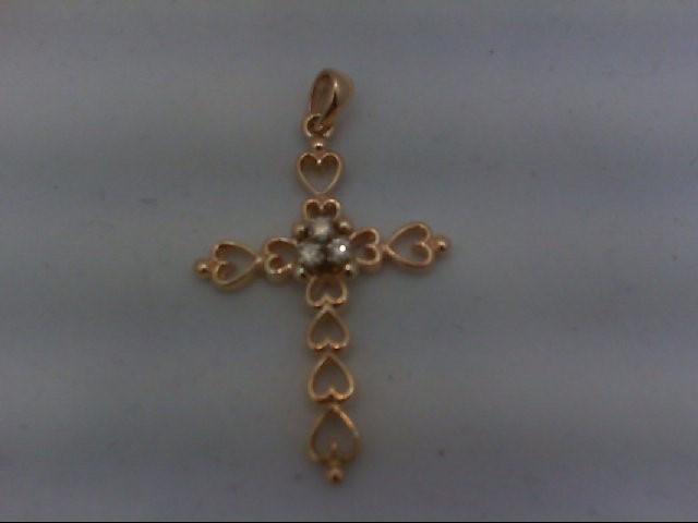 Gold-Multi-Diamond Pendant 3 Diamonds 0.15 Carat T.W. 14K Yellow Gold 3.6g