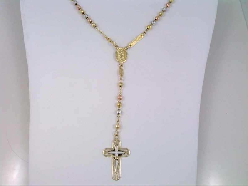 "16"" TRI COLOR ROSARY BEADS REAL 14K TRI TONE GOLD 12.5g CATHOLIC"
