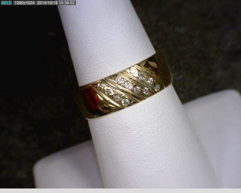 Gent's Diamond Fashion Ring 12 Diamonds .12 Carat T.W. 14K Yellow Gold 3.78dwt