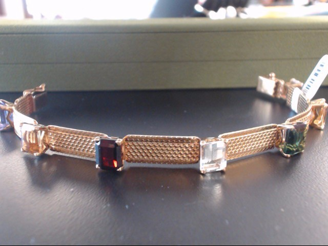 Synthetic Almandite Garnet Gold-Stone Bracelet 18K Yellow Gold 29.11g