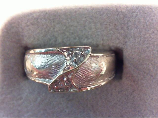 Gent's Diamond Fashion Ring 2 Diamonds .02 Carat T.W. 14K White Gold 5.3g