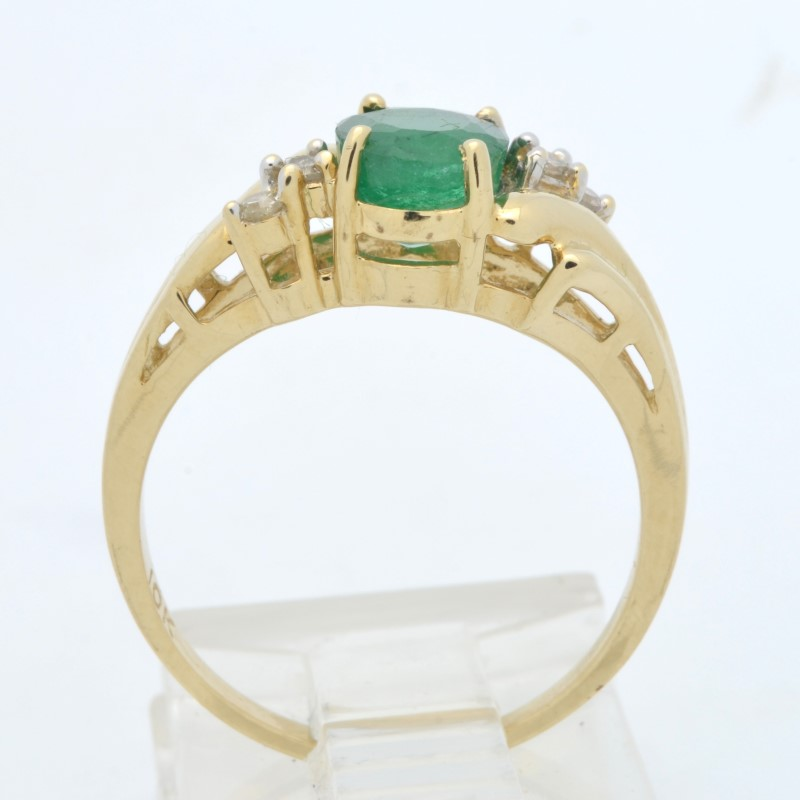 ESTATE GENUINE EMERALD DIAMOND RING SOLID 10K GOLD OVAL CUT SIZE 6.25