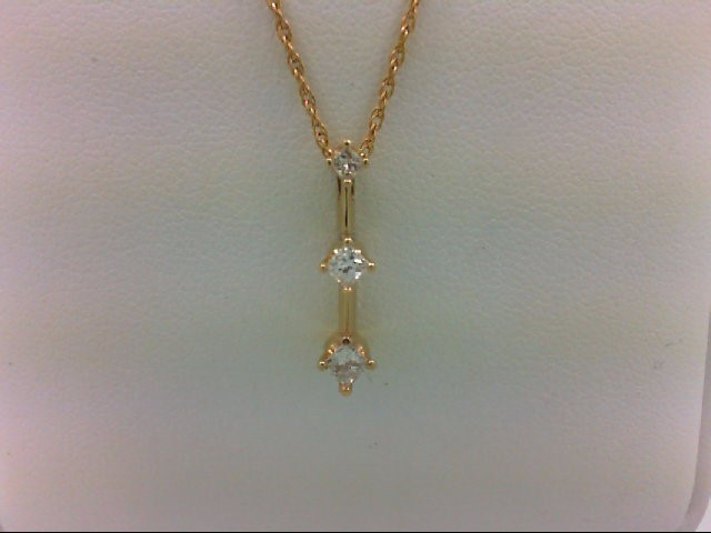 Gold-Multi-Diamond Pendant 3 Diamonds 0.23 Carat T.W. 14K Yellow Gold 0.8g