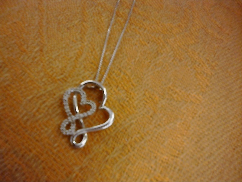 NECKLACE JEWELRY JEWELRY, 925, 2.04 DWT; DOUBLE OPEN HEART PENDANT WITH DIAMOND