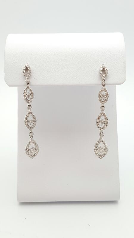 Gold-Diamond Earrings 138 Diamonds 1.38 Carat T.W. 18K White Gold 5g