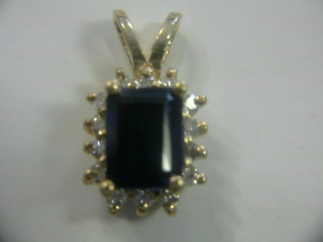Blue Stone Gold-Diamond & Stone Pendant 14 Diamonds .14 Carat T.W.