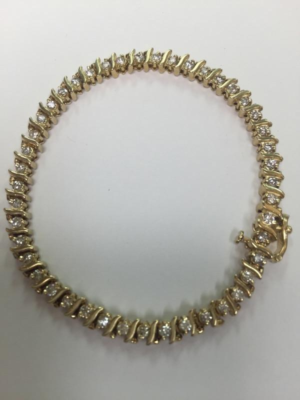 Gold-Diamond Bracelet 45 Diamonds 3.15 Carat T.W. 14K Yellow Gold 8.15dwt