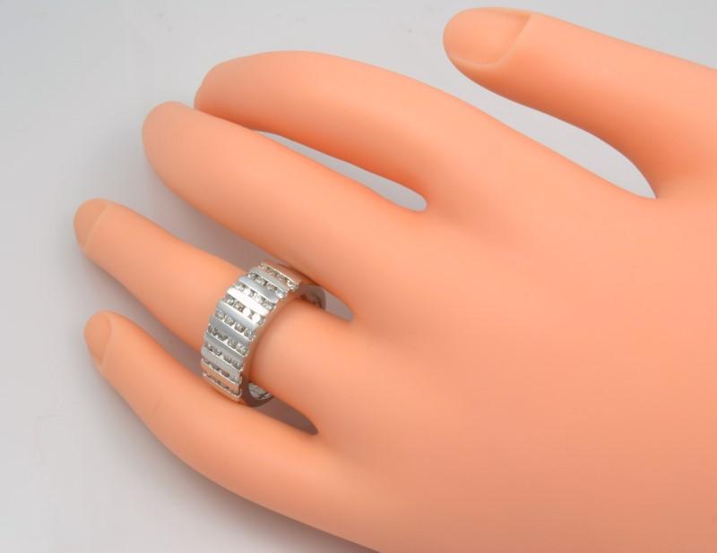 VINTAGE SOLID 950 PLATINUM NATURAL DIAMOND RING BAND WIDE  ESTATE