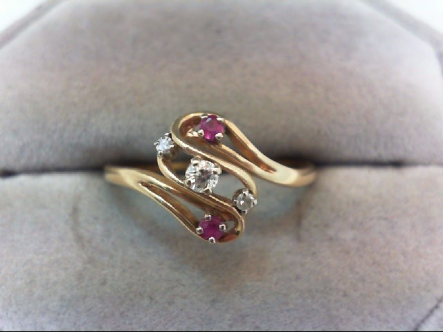 Ruby Lady's Stone & Diamond Ring 3 Diamonds .10 Carat T.W. 14K Yellow Gold 1.9g
